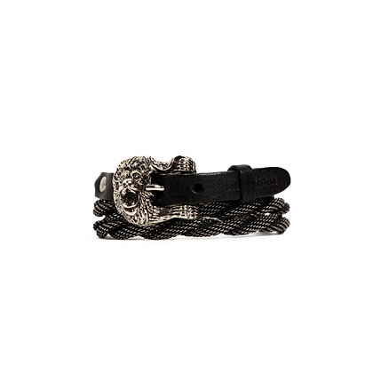 'LION' TRIPLE WRAP - ANTIQUE SILVER - BLACK