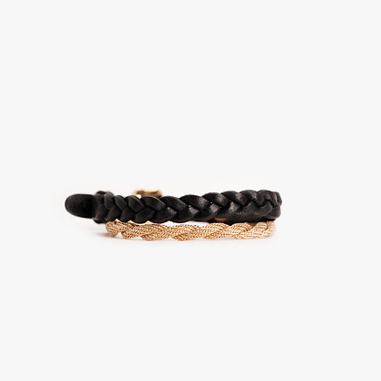 'ROPE & HAND BRAID' DOUBLE WRAP - PINK GOLD- BLACK
