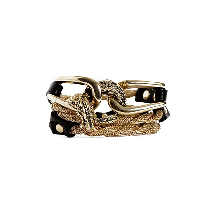 'ALLIGATOR' TRIPLE WRAP - BLOND GOLD - BLACK