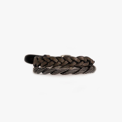 'ROPE &HAND BRAID' DOUBLE WRAP - ANTIQUE SILVER - STEEL GREY
