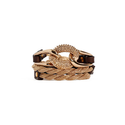 EQUESTRIAN TRIPLE WRAP - PINK GOLD - CHOCOLATE