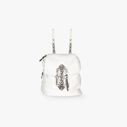 'JOURNEY' BACKPACK - WHITE LEATHER - ANTIQUE SILVER
