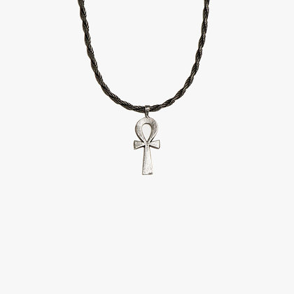 'ANKH AND ROPE' NECKLACE - ANTIQUE SILVER