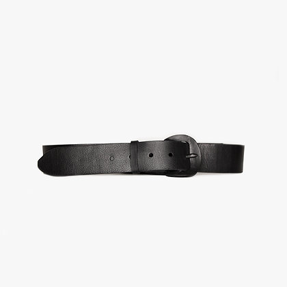 'HAMMERED BUCKLE' BELT - MANHATTAN MATTE BLACK