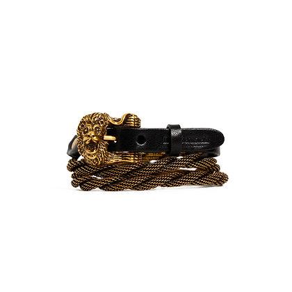 'LION' TRIPLE WRAP - ANTIQUE GOLD BLACK