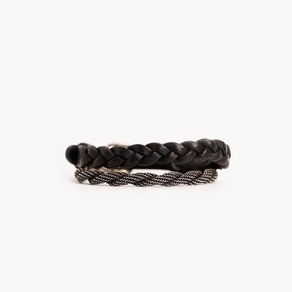 'ROPE & HAND BRAID' DOUBLE WRAP - ANTIQUE SILVER - BLACK