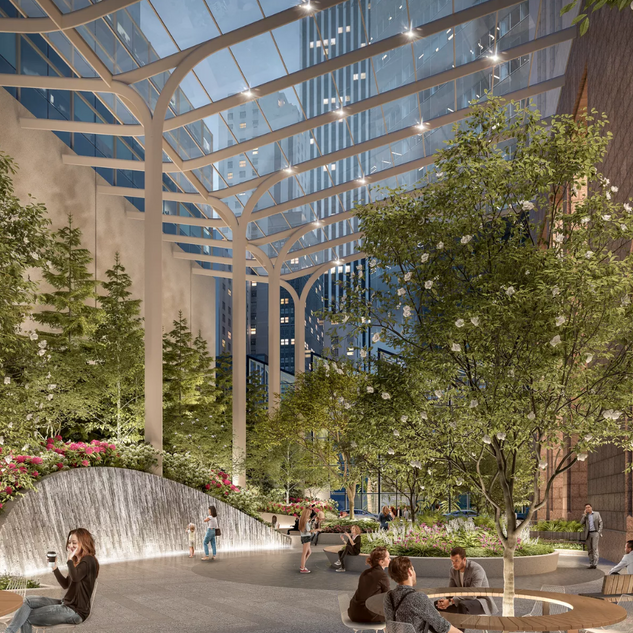 The City Planning Commission has approved plans for Snøhetta to reimagine the enclosed plaza of the Postmodern skyscraper at 550 Madison Avenue.  The design firm plans to transform the dark, underutilized space (which is a Privately Owned Public Space, or POPS), into an airy garden with a glass canopy and plenty of greenery.