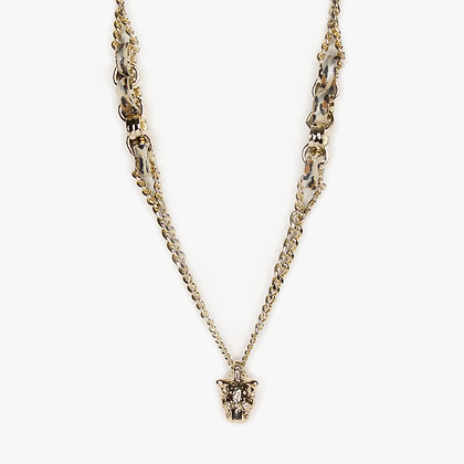 'JAGUAR & HAMMERED LINKS' NECKLACE - BLOND GOLD