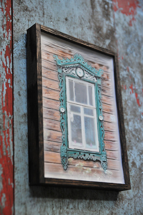 Russian Window - green/wood