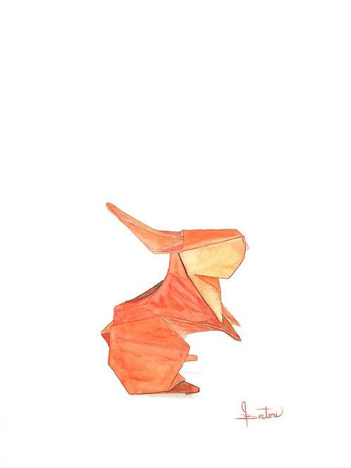 Origami Orange Rabbit