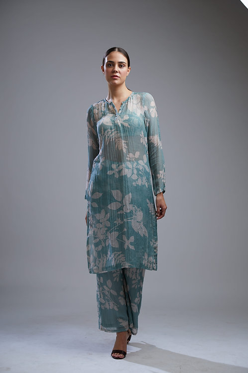 Blue And White Floral Kurta