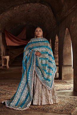 Silver And Turquoise Fiza Chaandi Lehenga Set