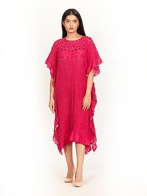 Red And Pink Bandhani Kaftan