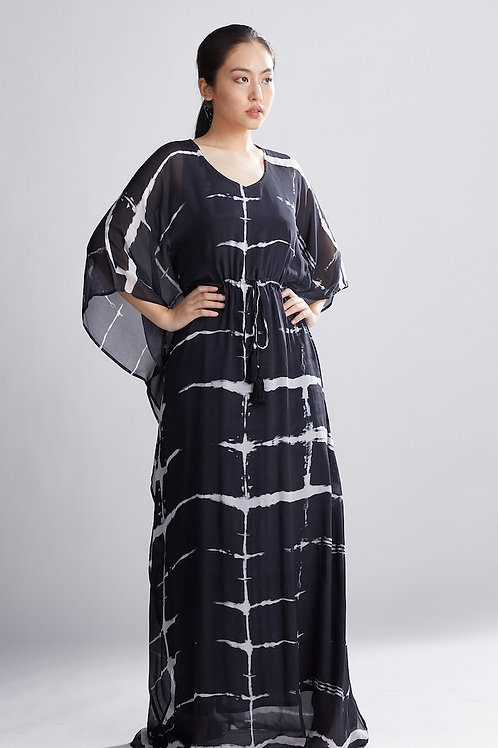 Black And White Shibori Kaftan