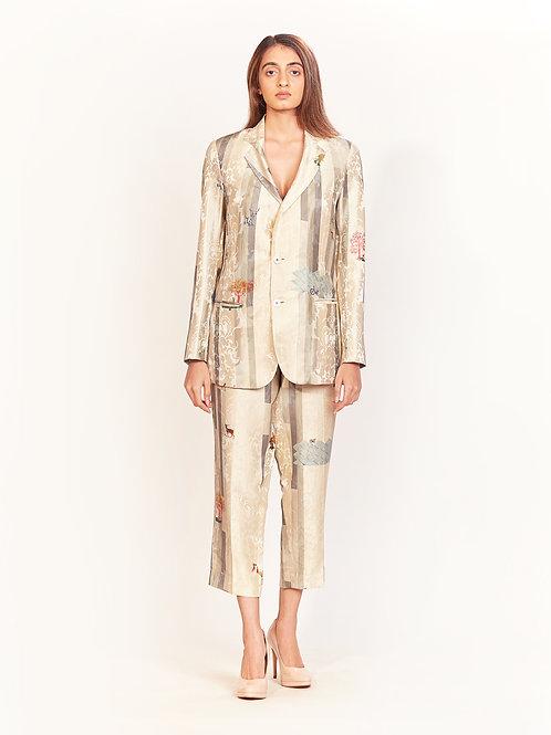 Oyster Grey Stripes Silk Blazer