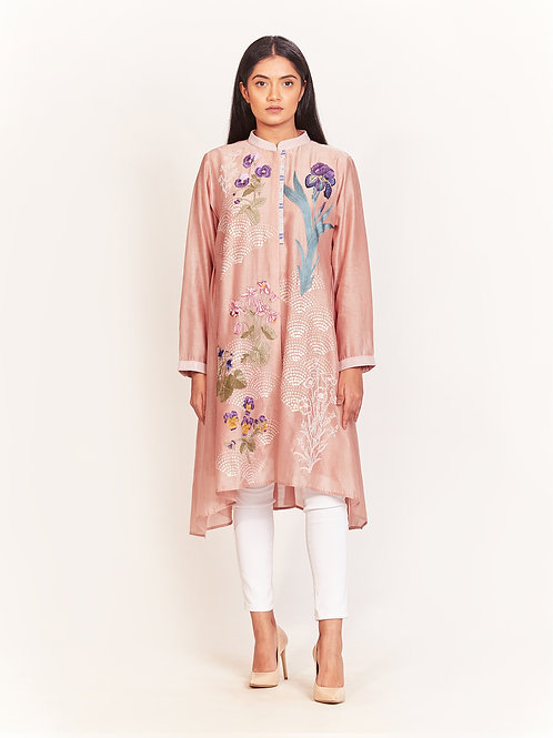 Dusty Pink Floral Embroidered Tunic