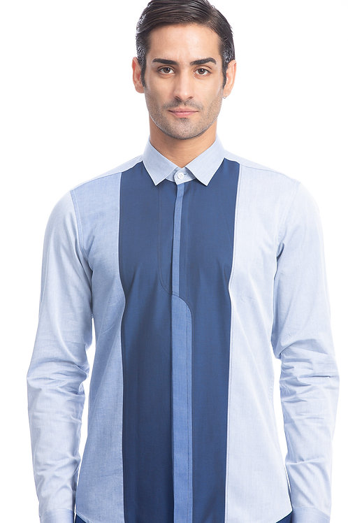 Blue, Navy Color Block Shirt
