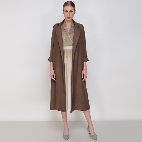 Rays Overlap Collar Dress With Opaque Jacket