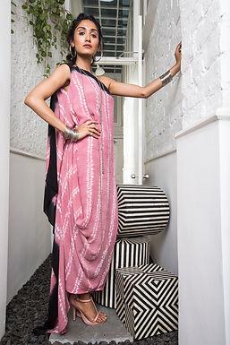 Pink One Shoulder Saree Cowl Drape dress