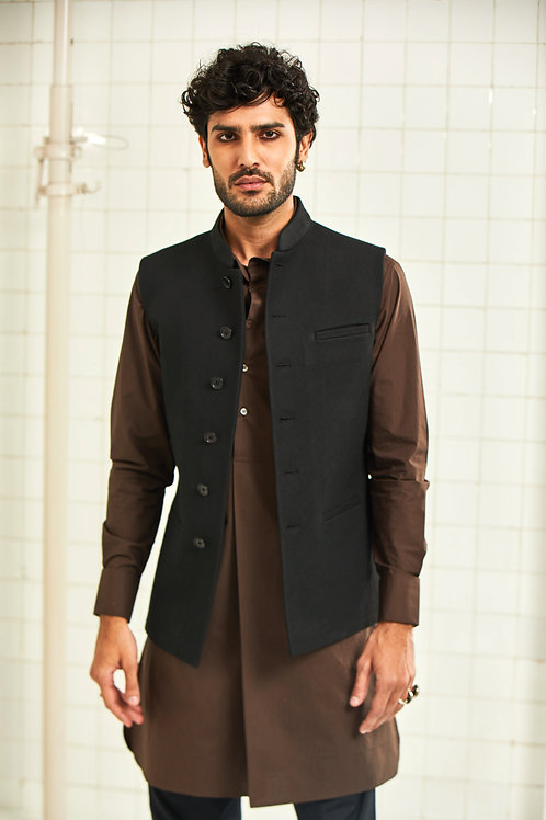 Black Mukam Quilted Waistcoat