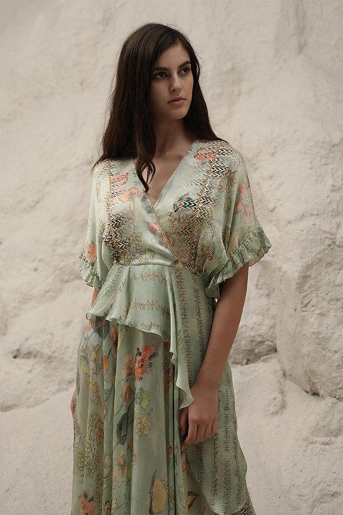 Green Windflower Print Ruffle Dress