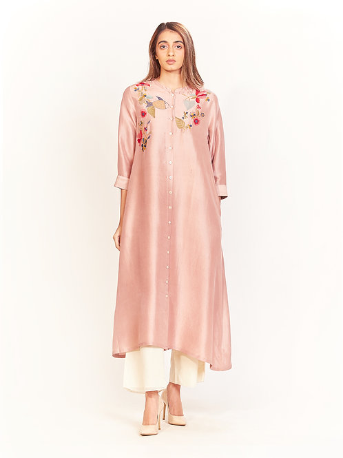 Rose Quartz Floral Embroidered Silk Tunic