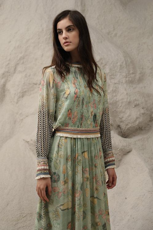 Green Windflower Print Dress