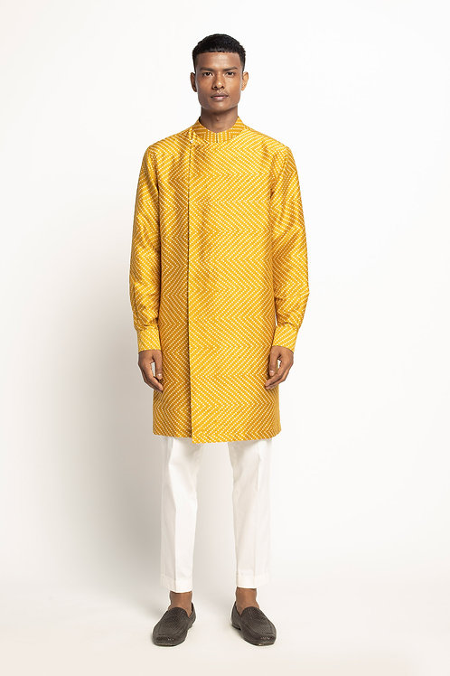 Yellow Bandhani Kurta Set