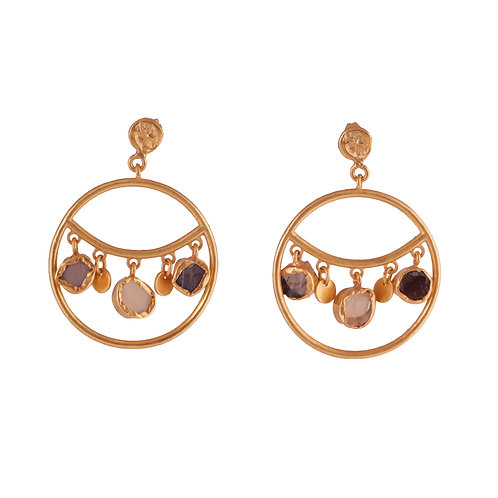Circle and Stones Earrings