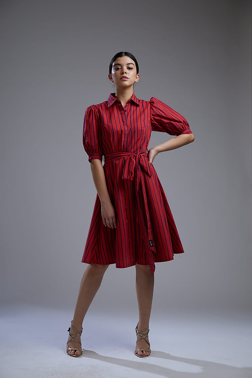 Red And Blue Striped Dress