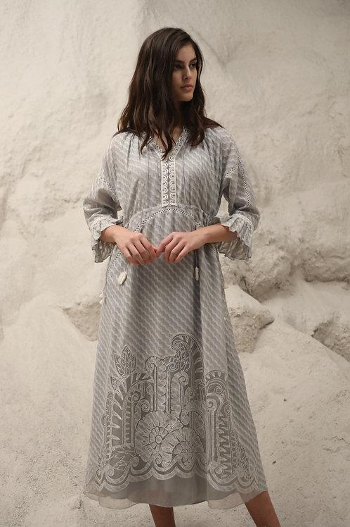 Grey Art Deco Maxi Dress