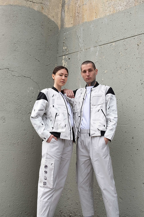 White Space Debris Bomber Jacket