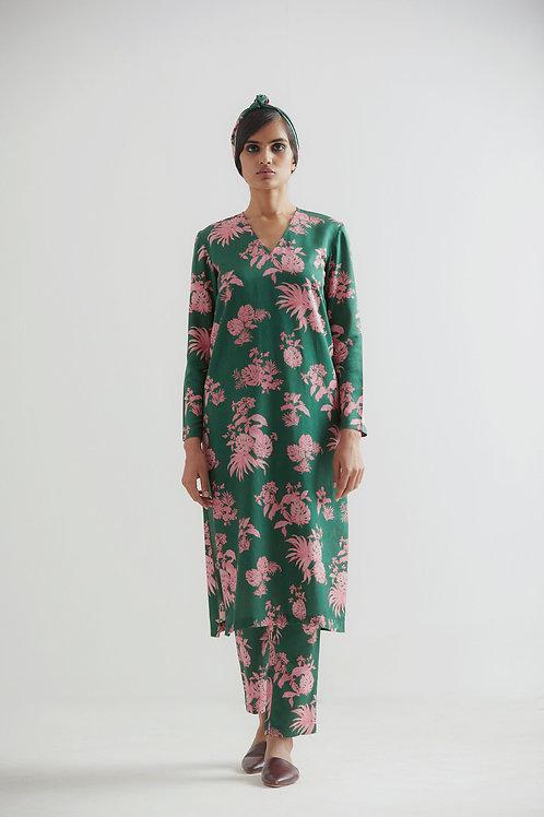 Green Bentota Floral Print Kurta Pant Set