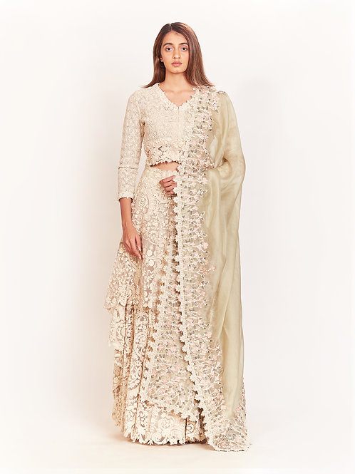 Ivory Lace Embroidered Lehenga Set