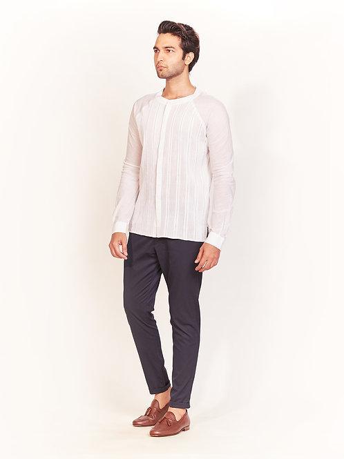 White Handstitch Detailing Pleated Shirt