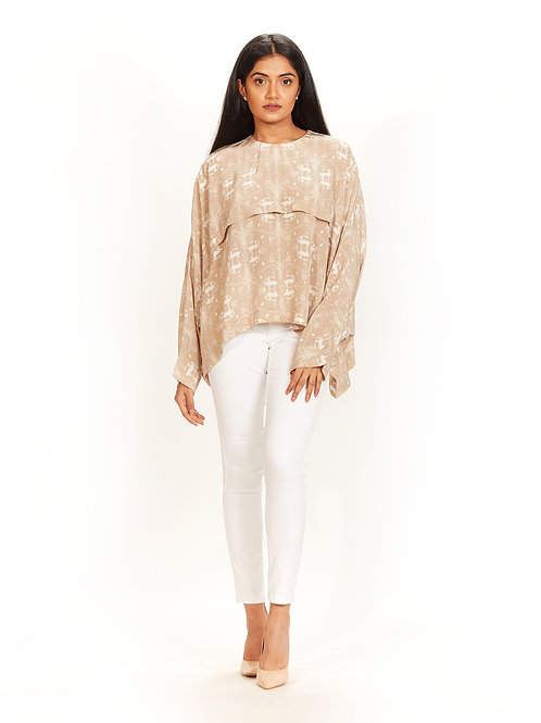 Beige Khargosh Printed Top