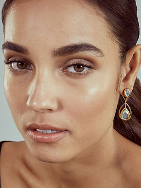 Gold Ayaana Petite Drop Libra Earrings