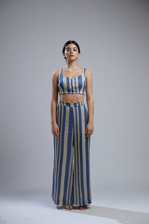 Blue And Beige Striped Palazzo Pants