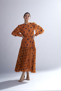 Orange And Blue Polka Long Dress