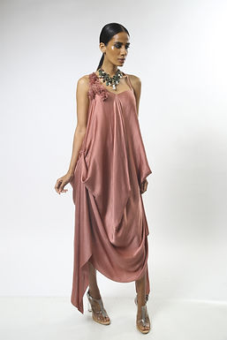 Dusty Pink Satin Draped Dress