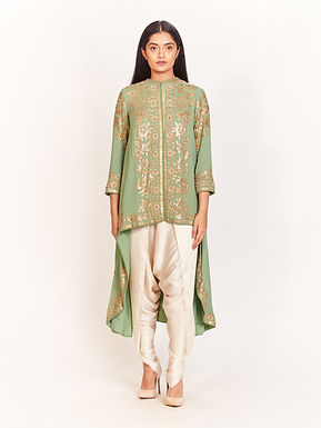 Green Embellished High-Low Tunic With Dhoti Pants
