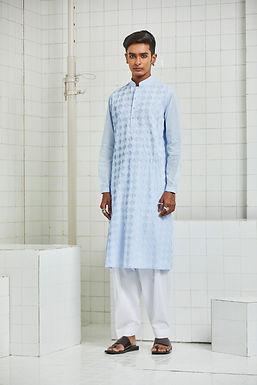 Blue Balotra Textured Kurta Set