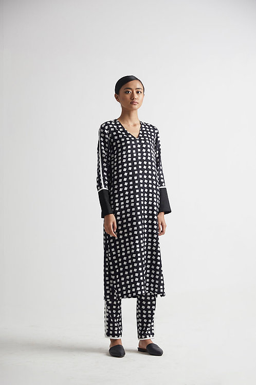 Black Printed Kurta Pant Set