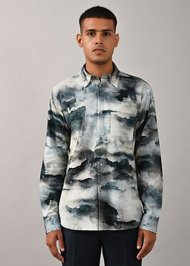 Ivory and Black Camouflage Cloud Shirt
