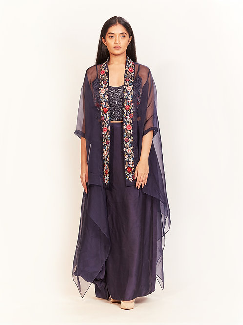 Space Blue Embroidered Cape Set