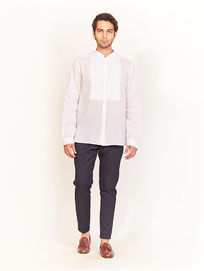 White Band Collar Shirt