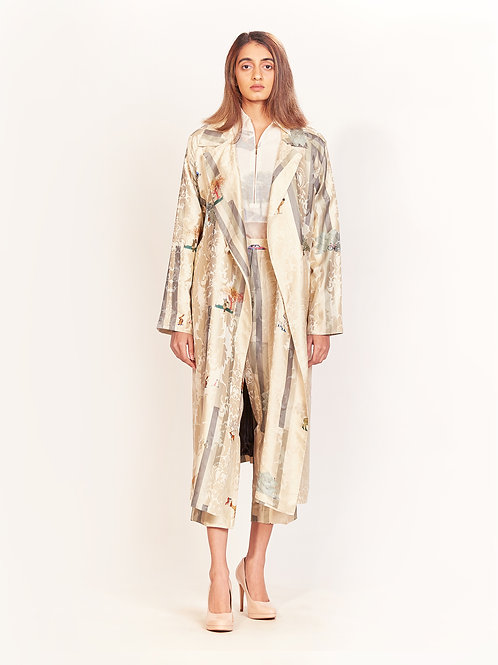 Oyster Grey Stripe Long Coat