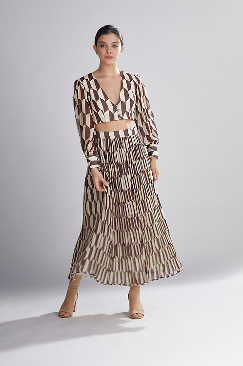 Geometric Brown And Cream Skirt
