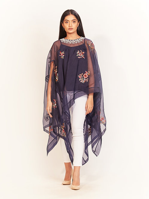 Space Blue Embroidered Cape Top