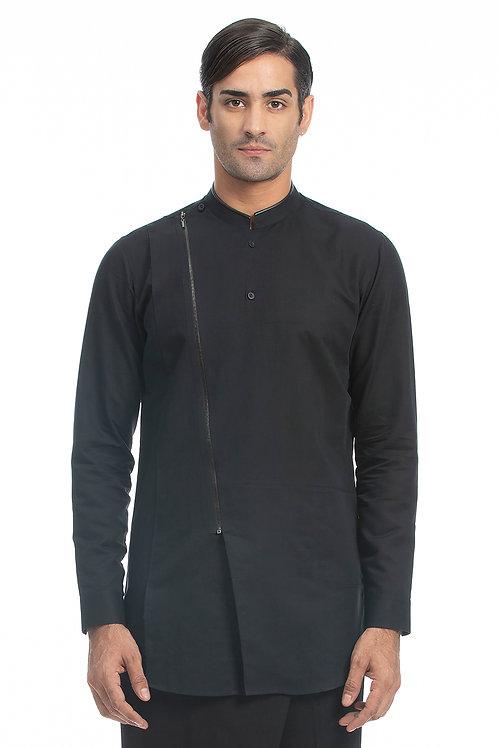 Black Zipper  Shirt With Emblem
